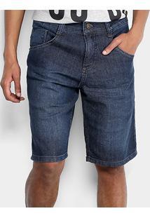 Bermuda Jeans Biotipo Escura Com Elastano Masculina - Masculino-Azul