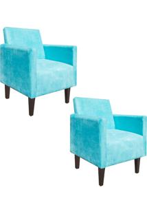 Kit 02 Poltrona Decorativa Compacta Jade Suede Azul Tiffany Com Pés Baixo Chanfrado - D'Rossi