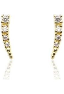 Brinco Piuka Mini Ear Cuff Zircônias Folheado Ouro Feminino - Feminino-Dourado