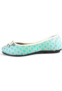 Sapatilha Confort Fem Croche Laço Azul