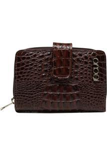 Carteira Em Couro Recuo Fashion Bag Croco Café