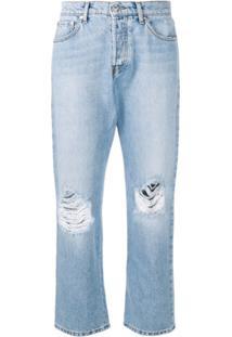 Msgm Calça Jeans Destroyed - Azul