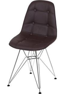 Cadeira Eames Botone Marrom Base Cromada - 39067 - Sun House