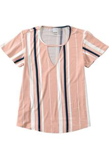 Blusa Recorte Frontal Listrada Malwee