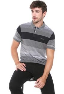 Camisa Polo Wrangler Reta Listrada Preta/Cinza