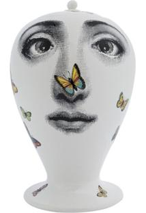 Fornasetti Vaso Com Estampa De Rosto - Branco