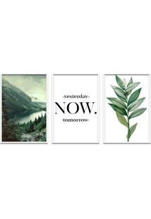 Quadro 60X120Cm Floresta Montanha Com Frase- Decorativo Moldura Branca Com Vidro