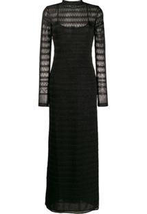 M Missoni Vestido Longo De Tricô Com Sobreposição - Preto