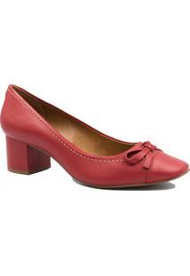 Sapato Jorge Bischoff Scarpin Em Couro Laço Vermelho