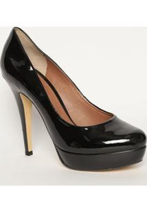 Sapato Meia Pata Envernizado- Preto- Salto: 13Cmmya Haas