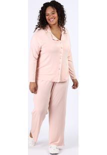 Pijama Feminino Plus Size Camisa Com Vivo Contrastante E Bolso Manga Longa Rosa Claro