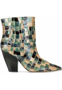 Tory Burch Ankle Boot Lila Com Salto 95Mm - Verde