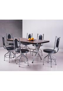 Conjunto De Mesa De Jantar Com 6 Cadeiras Argelia Ameixa Negra E Preto