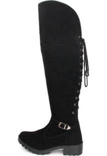 Bota Over The Knee Br2 Lady Cano Longo Moderna Feminina - Feminino-Preto