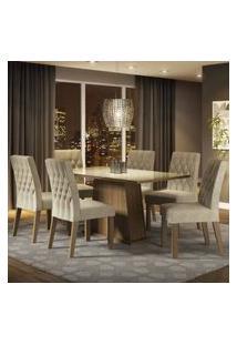 Conjunto Sala De Jantar Madesa Rafaela Mesa Tampo De Vidro Com 6 Cadeiras Rustic/Crema/Imperial