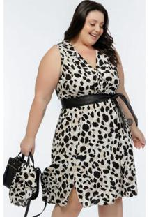 Vestido Plus Size Onça Off White Com Gola