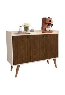 Aparador Buffet Retrô 3 Portas Wood - Off White / Freijó - Rpm Móveis
