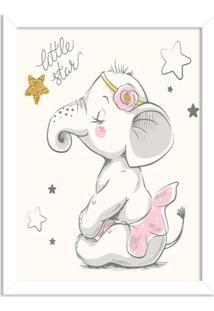 Quadro Decorativo Infantil Elefantinha Bailarina Branco - Médio
