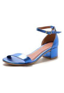 Sandalia Salto Grosso Lafiume Metalizada Azul