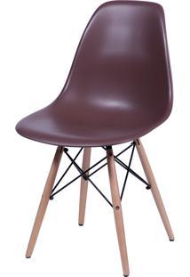 Cadeira Dkr Polipropileno E Base De Madeira Lawang – Café