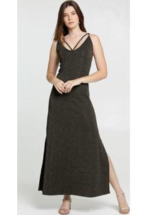Vestido Feminino Brilho Fenda Alças Finas