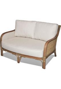 Sofa Nogales 2 Lugares Assento Cor Branco Com Base Madeira Apui - 44786 - Sun House