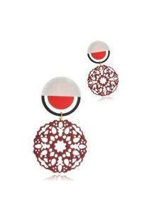 Brinco Le Diamond Mandala Baquelite Vermelho