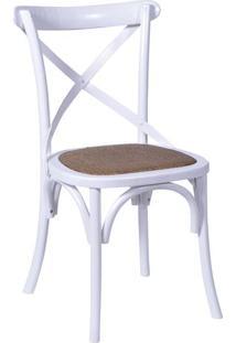 Cadeira Cross- Branca & Marrom- 89X55X49Cm- Or Dor Design