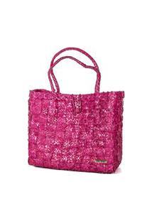 Bolsa Tote-Shopper Palha Natural Forro Tecido Praia Rosa