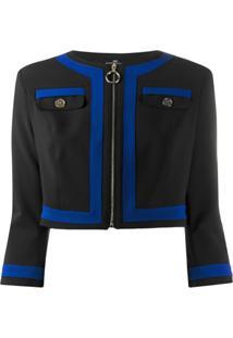 Elisabetta Franchi Panelled Cropped Jacket - Preto