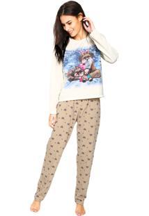 Pijama Pzama Estampado Off-White/Bege
