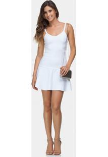 Vestido Com Alças Em Tricô Branco Off White - Lez A Lez