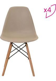 Conjunto De Cadeiras Eiffel Sem Braço- Nude & Marrom Clarivatti