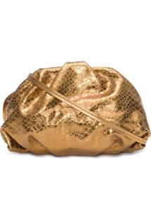 Bolsa Feminina Maxi Clutch Avril Croco Metallic - Dourado
