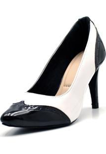 Sapato Scarpin Salto Alto Fino Em Napa Branca Com Verniz Preto.