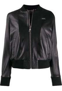 Philipp Plein Mini Plaque Bomber Jacket - Preto