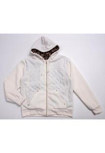 Jaqueta Plus Size Capuz Onça Besni Feminina - Feminino-Off White