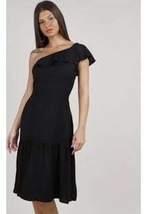 Vestido Feminino Midi Um Ombro Só Com Babado Preto