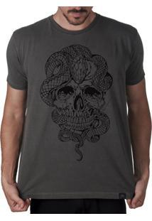 Camiseta Artseries Crânio Com Cobra Stupid Man Cinza