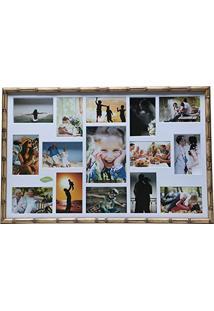 Painel Para 15 Fotos - 10X15 E 15X21 Cm - Bambu - Woodart