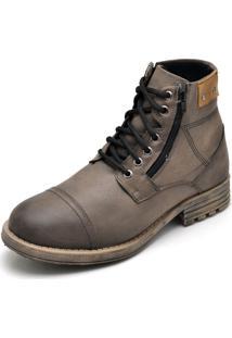 Bota Couro Dr Shoes Zíper Marrom