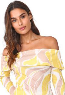 Blusa Lança Perfume Ombro A Ombro Canelada Branca/Amarela