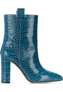 Paris Texas Bota Com Efeito De Pele De Crocodilo E Salto Bloco - Azul