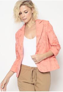 Blazer Floral Com Recortes- Salmã£O & Coral- Cotton Ccotton Colors Extra