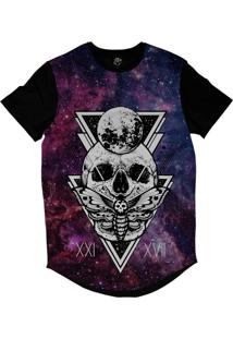 Camiseta Longline Bsc Galáxia Caveira Borboleta Sublimada Colors