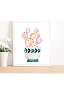 Quadro Decorativo Com Moldura Cacto Pink