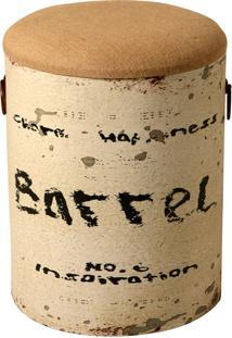 Puff Decorativo De Madeira E Assento Removível De Linho Barrel