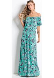 Vestido Longo Floral Turquesa Ombro A Ombro