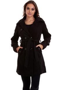 Casaco Trench Coat Lazinha Forraco Com Faixa Preto