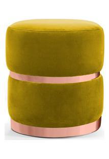 Puff Decorativo Com Cinto E Aro Rosê Round B-279 Veludo Amarelo - Domi
